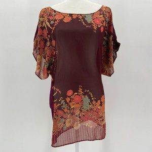 Free People Sheer Maroon Floral Lace Blouse Top S